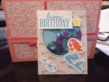 Mermaid birthday shaker card